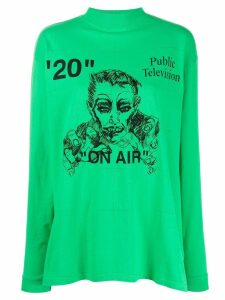 Off-White Public Television print long-sleeve T-shirt - Green
