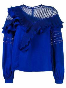 Self-Portrait frilly blouse - Blue