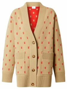 Burberry Monogram Wool Cashmere Blend Oversized Cardigan - Neutrals