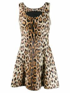 Roberto Cavalli leopard print mini dress - Neutrals