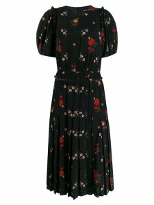 Simone Rocha pleated floral-print dress - Black