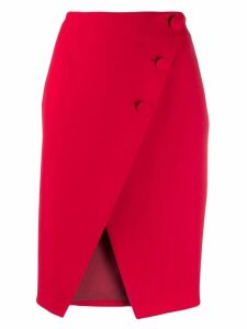 Sara Battaglia asymmetric buttoned skirt - Red