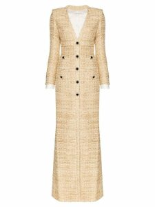 Alessandra Rich metallic tweed gown dress - Neutrals