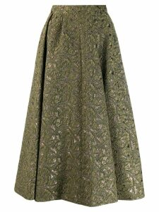 Rochas A-line brocade midi skirt - Green