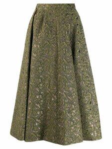 Rochas A-line brocade midi skirt - Green