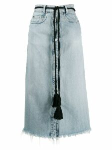 Miu Miu tassel belt denim midi skirt - Blue