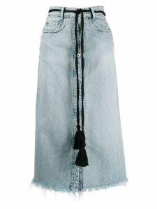 Miu Miu tassel belt denim midi skirt - Blue