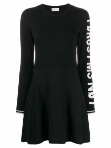 Red Valentino slogan detail short dress - Black