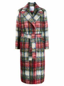 Giada Benincasa belted plaid coat - White