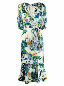 Saloni printed Olivia midi dress - White