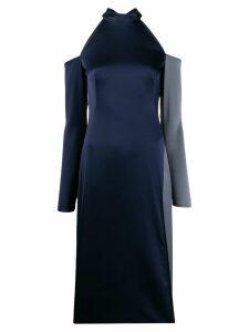 Ssheena cold shoulder satin dress - Blue