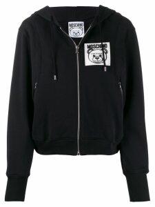 Moschino zip-front logo patch hoodie - Black