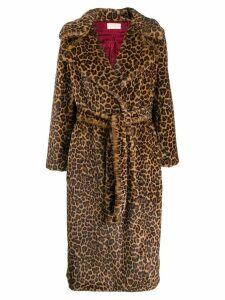 Sara Battaglia leopard print belted coat - Brown