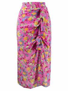 Saloni printed Kelly midi dress - Pink