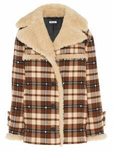 Miu Miu check button-front coat - Brown