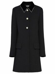 Miu Miu embellished natté crepe coat - Black