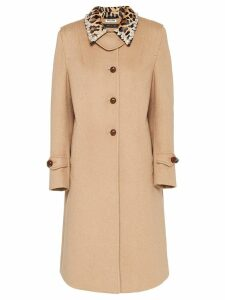 Miu Miu velour long-length coat - Brown
