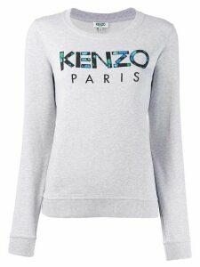 Kenzo embroidered floral-print logo sweatshirt - Grey