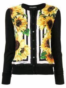 Dolce & Gabbana sunflower-print cardigan - Black
