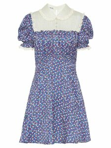 Miu Miu lace-paneled floral-print satin dress - Blue