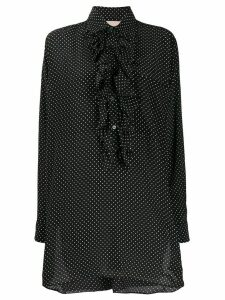 Plan C polka dot print ruffle shirt - Black