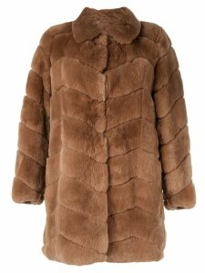 Yves Salomon Meteo single-breasted fur coat - Brown