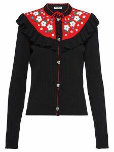 Miu Miu ruffle detail cardigan - Black