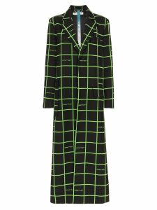 Off-White checked long coat - Black