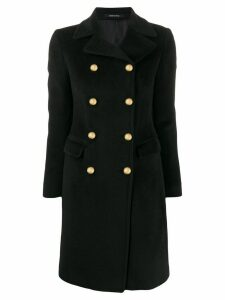 Tagliatore textured double-breasted coat - Black