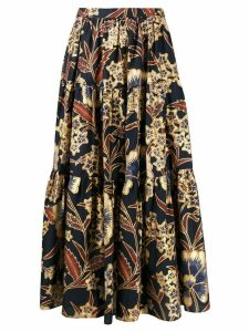 Ulla Johnson floral print tiered skirt - Blue