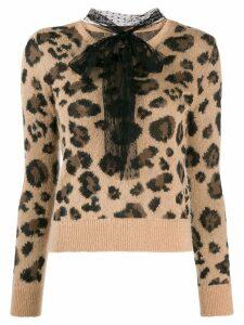 Red Valentino pussybow leopard print jumper - Neutrals
