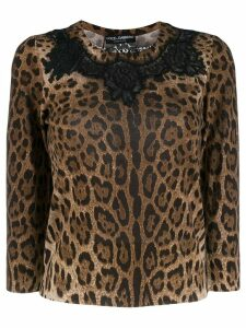 Dolce & Gabbana leopard print lace detailed top - Brown