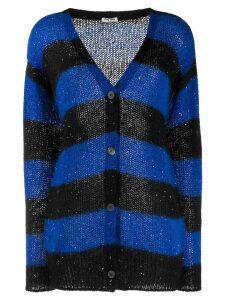 Miu Miu sequins embellishment striped cardigan - Blue
