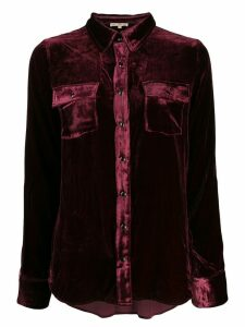 Gold Hawk crushed velvet shirt - Red