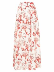 Ingie Paris coral print full skirt - White