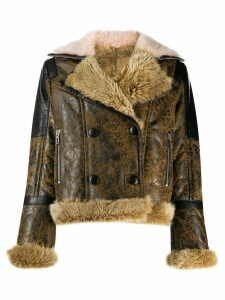 Drome distressed shearling jacket - Brown