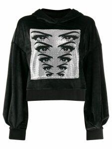 Pinko chainmail detail velvet hoodie - Black
