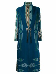 Jessie Western geometric single-breasted coat - Blue