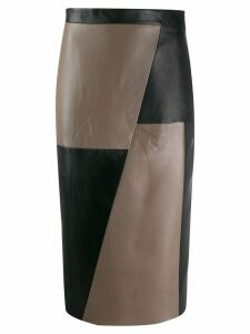 Eudon Choi panelled leather skirt - Black