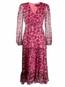 Saloni leaf-print silk dress - Pink