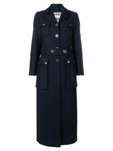 Thom Browne Double Face Melton Overcoat - Blue