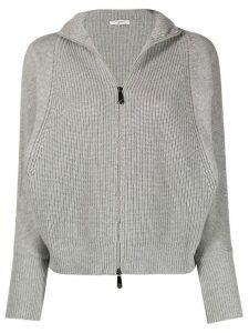 Peserico zip-up ribbed cardigan - Grey