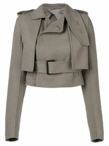 Rick Owens short belted trench - Grey