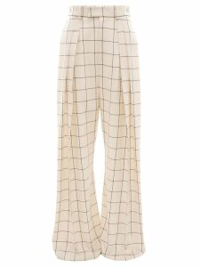 JW Anderson Windowpane high waisted wide leg trousers - Neutrals