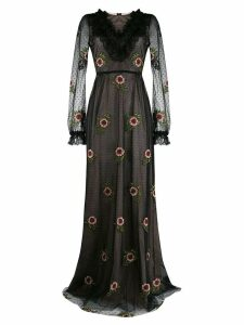 Giambattista Valli floral embroidered evening dress - Black