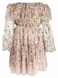 Giambattista Valli floral embroidered deep frill dress - Pink