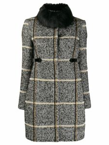 LIU JO fur collar coat - Black