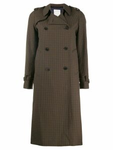 Sandro Paris checked trench coat - Green