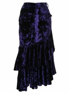 Facetasm denim and velvet skirt - Purple