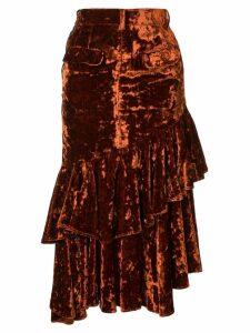 Facetasm denim and velvet midi skirt - Orange